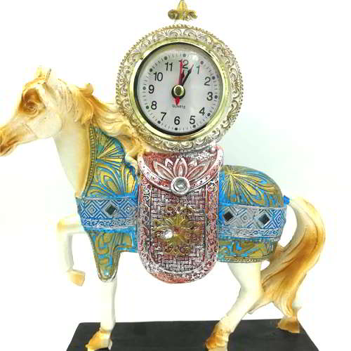 Horse with Clock Showpiece