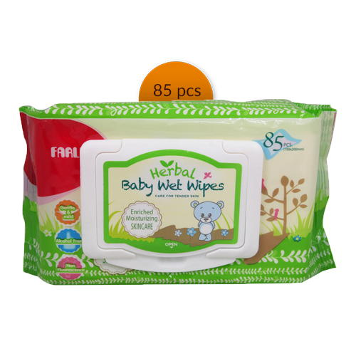 Farlin Baby Herbal Wet Wipes Green (Skin Care) (DT-006D)1 pck 85 pieces