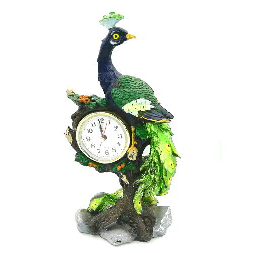 Peacock with Clock Showpiece
