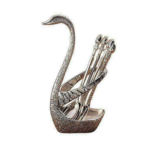 Spoon Set with Swan Stand - Silver Color