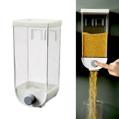Wall Mounted Press Cereals Dispenser Storage Box