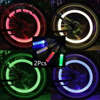 2PCS Bicycle Car LED Neon Tire Wheel Gas Nozzle Valve Glow Stick Light For Bike or Car