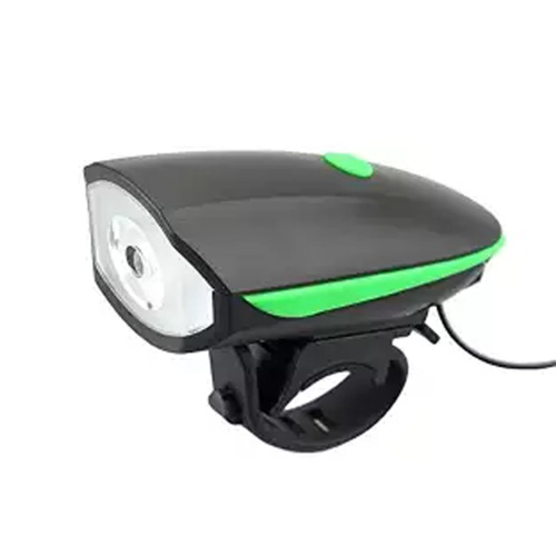 USB Bicycle Light with Horn Device - Black and Green