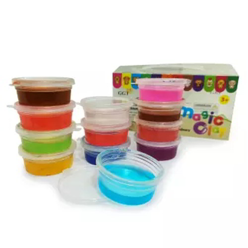 Gel Clay Set Bowls Play Dough For Kids - 12 Colors