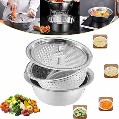 Multifunctional Drain Basket with Grater Vegetable Cutter